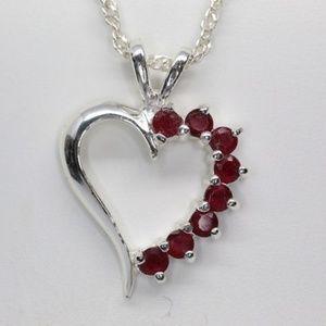 Jewelry - Sterling 925 Garnet Heart Necklace